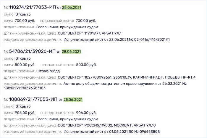 Сведения о размере задолженности по базе ФССП в сервисе Rusprofile